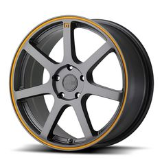 "4 Lug 100 15"" Inch Matte Grey n Orange Wheel Set of 4 Rims"