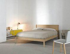 BREDA Bed. Borja Garcia Studio 2014 Frame made in solid oak wood and headboard in MD fibreboard covered in precomposed oak.