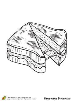 Un sandwich fromage lors d'un barbecue à colorier