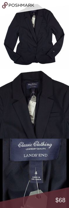 """New LANDS' END Navy Blue Blazer Jacket This new navy blue blazer from Lands End features front pockets, a button closure and is fully lined. Made of a poly/viscose/elastane blend. Measures: bust: 36"""", total length: 26@, sleeves: 25"""" Lands' End Jackets & Coats Blazers"""