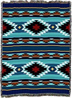 Pure Country Weavers Large Southwest Blanket Cotton Woven Large Soft Comforting, Iconic Fringe Design, Native American Inspired Pattern, Tribal Camp Throw Made in USA Vintage Crochet Patterns, Crochet Flower Patterns, Afghan Crochet Patterns, Aztec Blanket, Crochet Ripple Afghan, Dreamcatcher Design, Modern Crochet, Tapestry Weaving, Outdoor Recreation