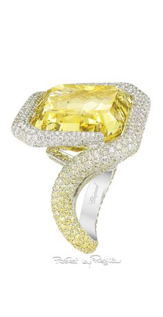 Yellow diamond ring by Chopard High Jewelry, Luxury Jewelry, Jewelry Accessories, Jewelry Design, Unique Jewelry, Vintage Jewellery, Diamond Rings, Diamond Jewelry, Ruby Rings