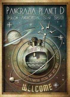 VINTAGE SCIENCE FICTION POSTER  Grafica e illustrazioni di Davide Corsetti. http://theredshiftpost.blogspot.it/2013/03/poster-habitat-21.html