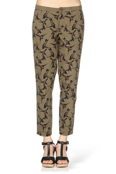 Pantalon chino kaki imprimé oiseau Jo IVY GREEN Only sur MonShowroom.com