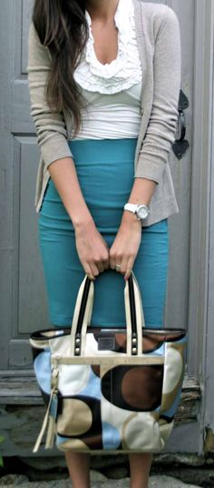 monday blues work outfit from pumpsandiron blog, longer skirt for work, higher neck on top