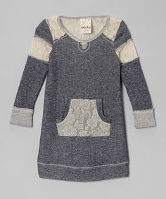 This Navy Lace Sweatshirt Dress - Toddler & Girls by Me & Ko is perfect! #zulilyfinds