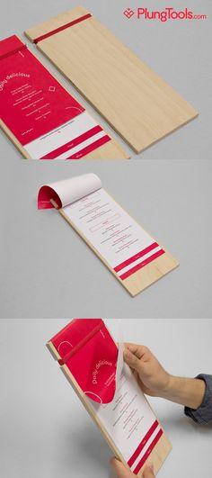 Wooden menu holders customised with your logo Wood Menu, Menu List, Menu Holders, Menu Boards, Folder Design, Wine Baskets, Cafe Bistro, Cocktail Menu, Coffee Menu