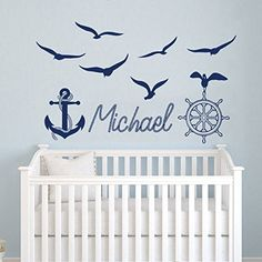 Name WALL DECAL BOY Nautical Anchor Ship Wheel Seagulls Nursery Kids Baby Boys Room Vinyl Sticker Decals Name Nautical Wall Decor x267 *** Check this awesome product by going to the link at the image. (Note:Amazon affiliate link) #WallDecor