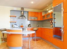 Pale Orange Kitchen bright orange kitchen walls with dark stained cabinets | paint it