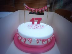 17th Birthday Cake Ive Made Today 17 Pink Bunting Cakedecorating