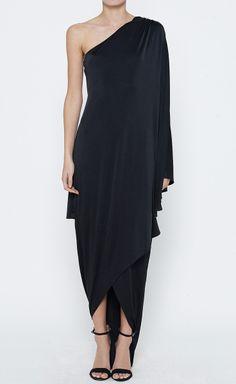 elegant black one shoulder dress