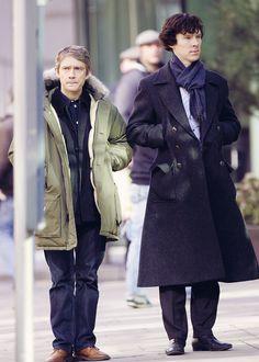 Martin Freeman as John Watson & Benedict Cumberbatch as Sherlock Holmes Sherlock Holmes John Watson, Sherlock Holmes Benedict Cumberbatch, Sherlock Holmes Bbc, Sherlock Fandom, Benedict Cumberbatch Sherlock, Sherlock John, Jim Moriarty, Sherlock Quotes, Martin Freeman