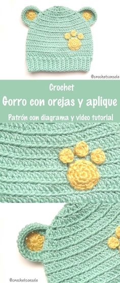 Un simpático gorro para niños con pequeñas oreja y aplique de huellita. Pueden ver el patrón con diagrama y el video tutorial en el blog. Espero que les guste. ... #crochet #ganchillo #uncinetto #örgü #häkeln #crochetconsole #crocheting #craftastherapy #crocheteveryday #lovecrochet #crochetlove #makersgonnamake #gorrocrochet #gorroganchillo #crochethat #tutorialgorrocrochet #tutorialgorroganchillo #gorrocrochetpasoapaso #crochethattutorial #patronescrochet #patronesganchill Crochet Bebe, Crochet Hats, Stuff To Buy, Baby, Amor, Beanie Babies, Crochet Pattern, Caps Hats, Knitting Hats