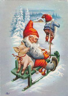 Znalezione obrazy dla zapytania Three gnomes on skis on porch of snow-covered cottage Vintage Greeting Cards, Vintage Christmas Cards, Christmas Pictures, Vintage Postcards, Norwegian Christmas, Scandinavian Christmas, Illustration Noel, Christmas Illustration, Christmas Gnome