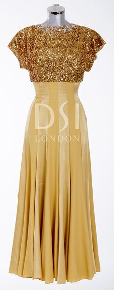 Gold Ballroom Dress as worn by Judy Murray on Strictly Come Dancing week 3,  2014. Designed by Vicky Gill and produced by DSI London