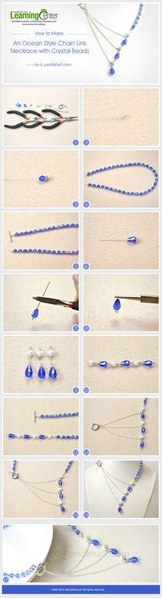 How to Make an Ocean Style Chain Link Necklace with Crystal Beads