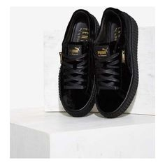 Puma x Rihanna Rebel Velvet Creeper Sneaker ($150) ❤ liked on Polyvore featuring shoes, sneakers, velvet shoes, puma sneakers, creeper sneakers, lacing sneakers and creeper platform shoes
