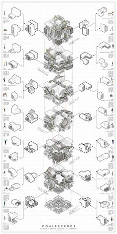 Tesseract: Time Based Ownership Incentivisation Model   - KooZA/rch Architecture Concept Diagram, Architecture Panel, Architecture Student, Architecture Drawings, Concept Architecture, Architecture Design, Time Diagram, Sectional Perspective, Isometric Design