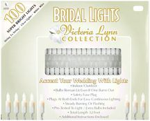 Bridal Lights 100 Count 32 Feet-Clear Bulbs W/White Wire. This string of white bridal lights is perfect for dressing up the head table; entrance way; aisle and much more. This package contains 100 indoor/outd