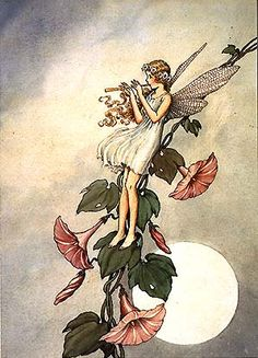Serenading the Moon, vintage photography, fairy sitting on flowers playing flute music to full moon,