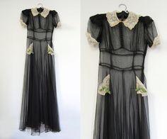 V I  N T A G E Art Deco Nuit Noire Gown by mamaleanne22