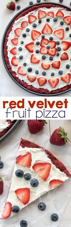 Red Velvet Fruit Pizza - a giant pizza cookie made from cake mix and topped with cream cheese whipped cream and fruit. It's the perfect potluck recipe!