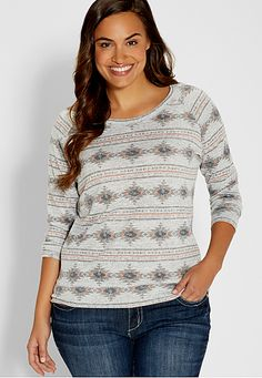 plus size pullover in ethnic print (original price, $34) available at #Maurices