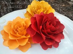 Paper Flowers - Wedding Decorations - X-Large Handmade Roses - Set of 12 - Custom Made - Firebird by morepaperthanshoes on Etsy https://www.etsy.com/uk/listing/103272249/paper-flowers-wedding-decorations-x