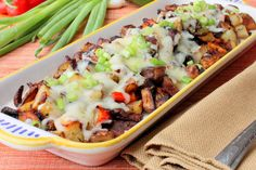 Breakfast potatoes with bacon, peppers and Monterrey Jack cheese are simply incredible!