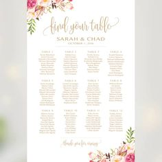 Wedding Seating Chart | By Table | Various Sizes | Tangled | Antique Gold | Romantic Blooms | I Create and You Print #weddings #reception #bridal #engaged #DIY