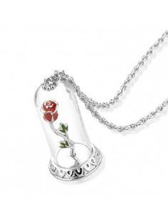 Colgante de oro blanco Rosa Encantada La Bella y la Bestia