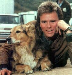 RDA and his baby on the set of 'MacGyver'