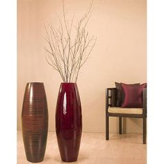 Feature these bamboo vases in your home for a sophisticated and elegant statement. This tall handcrafted vase, available in either dark red or cocoa brown, comes with reaching natural branches to complete their decorative look. Large Floor Vase, Tall Floor Vases, Tall Vases, Large Vases, Vase With Branches, Birch Branches, Floor Vase Decor, Vases Decor, Centerpieces