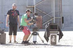 El equipo de rodaje de TEMPORAL metidos en faena durante el caluroso agosto de 2012