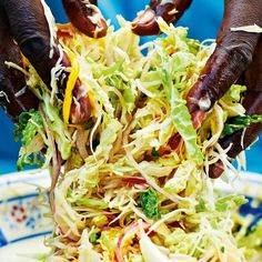 Hot and Fruity Caribbean Coleslaw - The Happy Foodie A gorgeously sweet and spicy coleslaw to serve alongside barbecued meat. The flavours of the Caribbean in this coleslaw recipe from Levi Roots will add a zing to any BBQ dish you serve it with. Caribbean Coleslaw Recipe, Caribbean Recipes, Indian Food Recipes, Vegetarian Recipes, Cooking Recipes, Oven Recipes, Thai Recipes, Bbq Ribs, Spicy Coleslaw