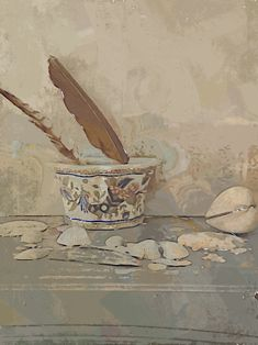 Still Life, Feather, Nature, Painting, Art, Craft Art, Naturaleza, Quill, Paintings