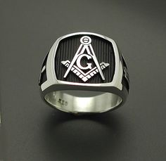 925 Sterling Silver Mens Masonic Ring- Original Design- Handmade-Freemasonry 006B