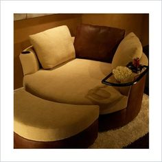 """Curved loveseat """"cuddle couch"""" - I'm kind of disgusted with myself for loving this."""