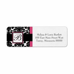 Black and Hot Pink Damask Monogrammed Return Address Label from Zazzle.com