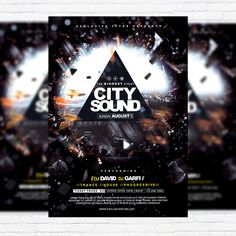 City Sound - Premium Flyer Template + Facebook Cover http://exclusiveflyer.net/product/city-sound-premium-flyer-template-facebook-cover/