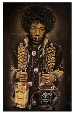 JEREMY WORST Jimi Hendrix awesome Artwork Signed Poster Print poster rare jack jd jackdaniels