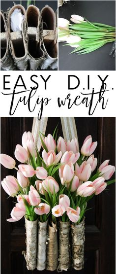 This is STUNNING! Learn to create a DIY tulip wreath with this full tutorial. It is easy and only takes 10 minutes!