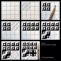 Zentangle patterns step by step tutorial Zentangle Drawings, Doodles Zentangles, Doodle Drawings, Doodle Art, Tangle Doodle, Tangle Art, Doodle Patterns, Zentangle Patterns, Op Art
