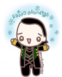 Loki is here to wish you happy holidays :) #loki #tomhiddleston #mintmintdoodles
