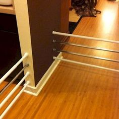 Great uses for tension rods. Get shower rods, easily adjustable and can be reused for other things!  #diybaby #babyhacks
