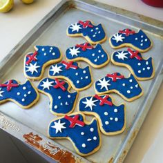 Love these little Australias. Happy Australia Day for the January 2014 Australian Party, Australian Food, Australian Recipes, Iced Cookies, Sugar Cookies, Fondant Cookies, Yummy Cookies, Event Themes, Party Themes