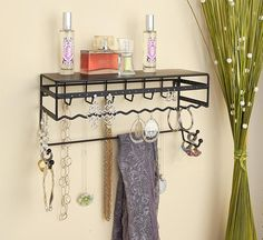 Ajewelry and accessory shelfdesigned to let you display your favorite pieceswithoutlooking cluttered.