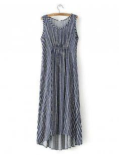 Blue Sleeveless Vertical Stripe Asymmetrical Dress