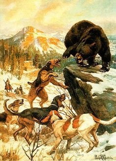 Hounds, Dogs, Bear Scene - Philip Goodwin hand-painted oil painting reproduction,Cowboys and Animals Bear Hunting, Hunting Art, Hunting Painting, Ours Grizzly, Hog Dog, Hunting Pictures, Cowboy Art, Bear Art, Le Far West