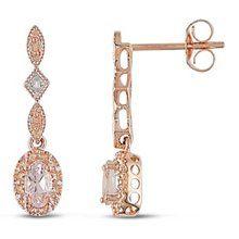 Rose gold diamond and morganite earrings!